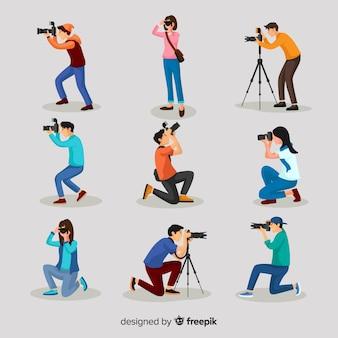 Actividades de fotógrafos de personajes de diseño plano