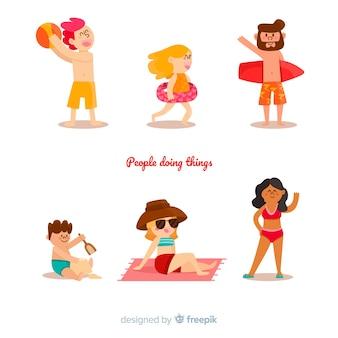 Actividades de la gente en la playa