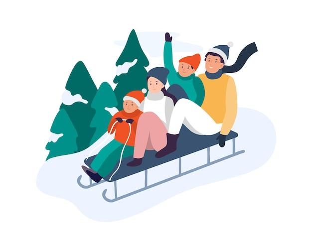 Actividades invernales. familia feliz montando trineo colina abajo cerca de abetos nevados. padres con niños montando tobogán en trineo. pasar tiempo juntos de forma activa y divertida en la ilustración de vector de naturaleza