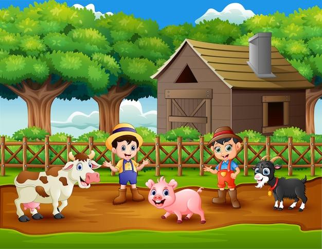 Actividades de jóvenes agricultores con animales en granja.