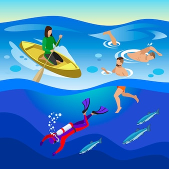 Actividades marinas al aire libre con swimminf y símbolos de buceo ilustración isométrica
