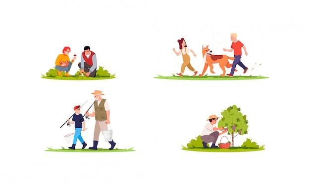 Actividades de vacaciones de verano conjunto de ilustraciones semi planas. gente recogiendo setas en el bosque. los niños juegan con el perro. colección de personajes de dibujos animados familiares 2d para uso comercial