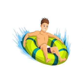 Actividades de verano en la playa. guy baja por el tobogán en un círculo inflable. vacaciones en la playa. estilo de dibujos animados