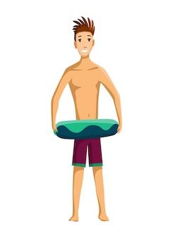 Actividades de verano en la playa. soporte de chico con círculo inflable. vacaciones en la playa