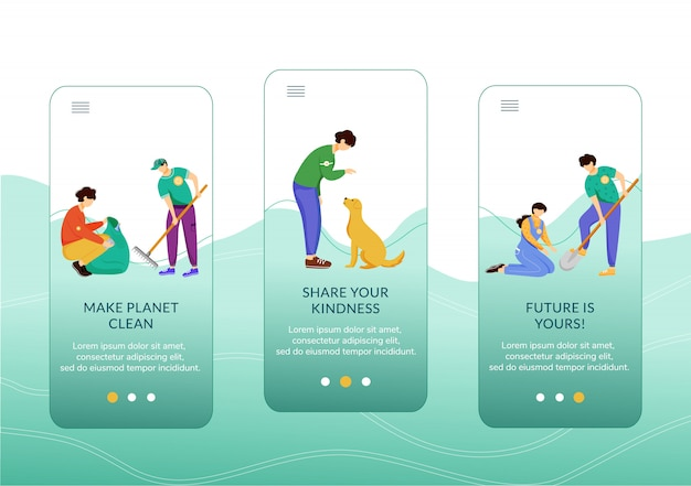 Actividades voluntarias a bordo de la plantilla de pantalla de la aplicación móvil. pasos del sitio web de tutorial de protección del medio ambiente y animales con personajes.