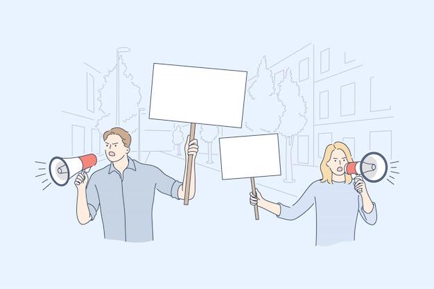 Activismo, protesta, concepto de demostración.