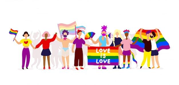 Activistas lgbtq participando en orgullo