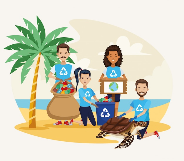 Activistas personas limpiando playa con escena de tortugas marinas