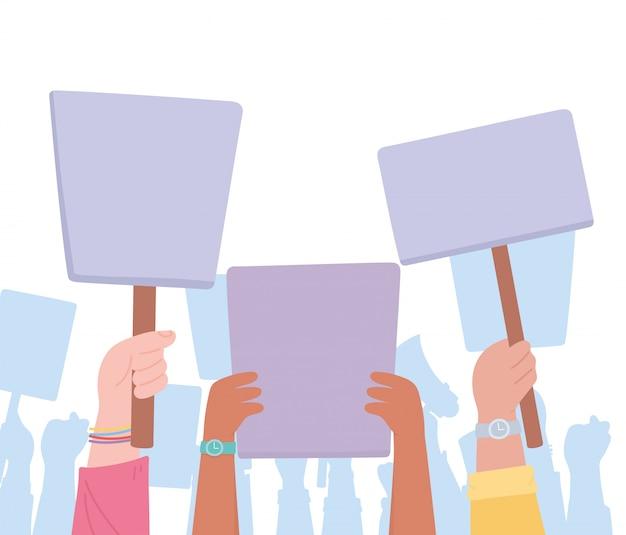 Activistas de protesta de manifestación, grupo de personas con pancartas levantadas
