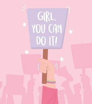 Activistas de protesta de manifestación, mano con cartel marcha femenina por los derechos