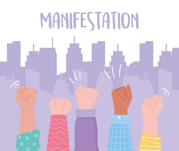Activistas de protesta de manifestación, manos arriba mensaje protestando en la ciudad