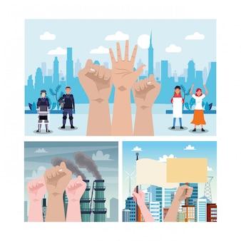 Activistas que protestan con la policía antidisturbios y las manos ilustración