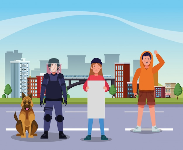 Activistas que protestan con la policía antidisturbios y el perro