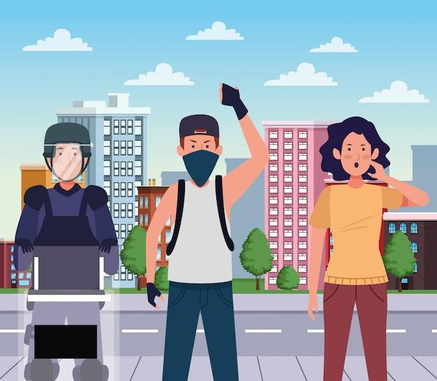 Activistas que protestan con la policía antidisturbios