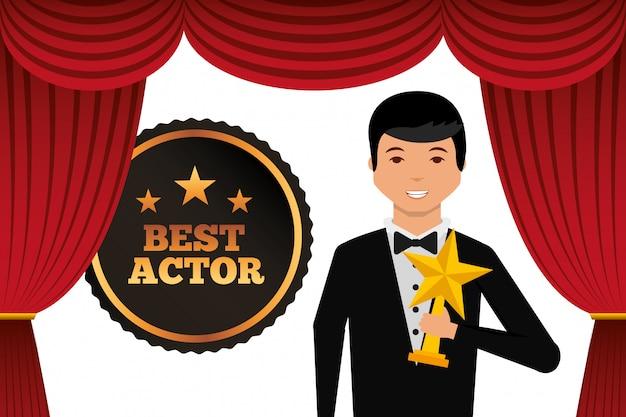 Actor vistiendo esmoquin con premio estrella de oro