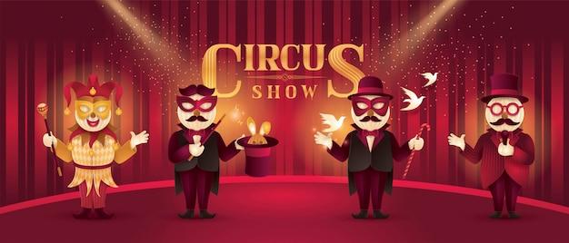 Actores de artistas de circo muestran conjunto, espectáculo de magia y truco de mago