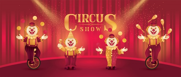 Actores de artistas de circo muestran conjunto, payasos divertidos nariz, traje de circo