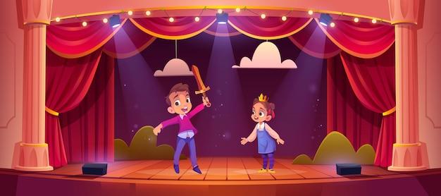 Actores de niños pequeños jugando concierto de cuento de hadas con personajes de princesa y caballero en la escena de la escuela