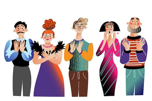 Actores de teatro actores de teatro después del estreno muestran personajes de dibujos animados