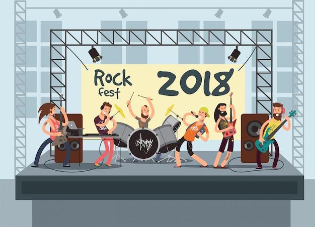 Actuación musical en el escenario con jóvenes músicos. concierto de rock