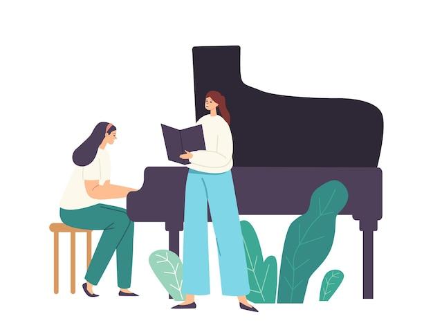 Actuación de ópera, coro o solista en el escenario, personaje femenino pianista tocando composición musical en piano de cola para mujer cantante cantando canción con libro en las manos. ilustración de vector de gente de dibujos animados