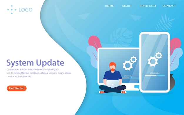 Actualización del sistema, ilustración de la página de destino