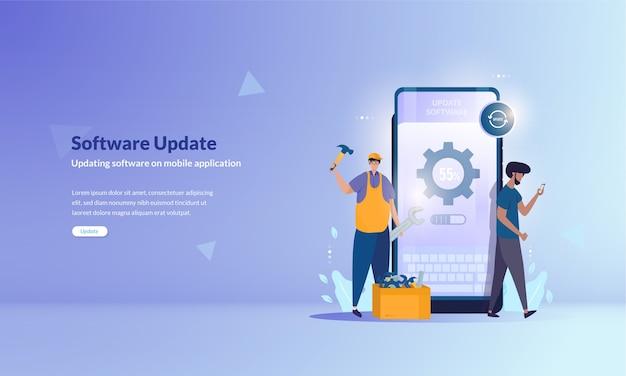 Actualización de software o reparación de software de aplicaciones móviles en concepto de baner