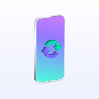 Actualizaciones de descarga del teléfono cargando flechas de icono teléfono de dibujos animados coloridos ilustración vectorial