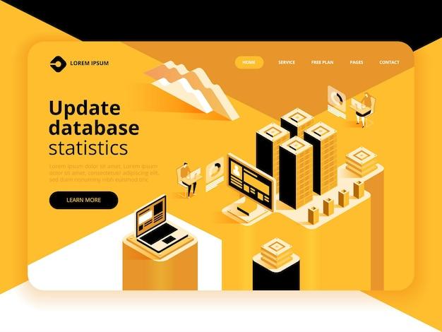 Actualizar la página de destino de las estadísticas de la base de datos. flujo de trabajo y gestión empresarial.
