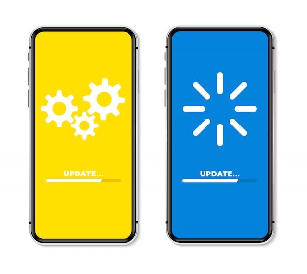 Actualizar el proceso de carga de concepto en la pantalla del teléfono. ilustración.