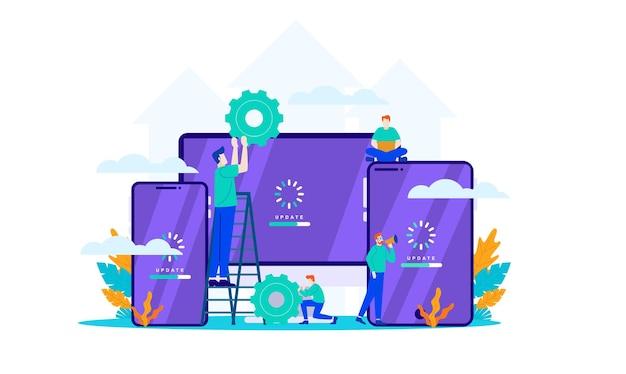 Actualizar software mini personas trabajan con sistema de actualización plano