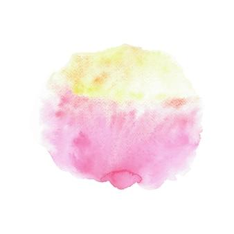 Acuarela abstracta de color rosa y amarillo sobre fondo blanco.