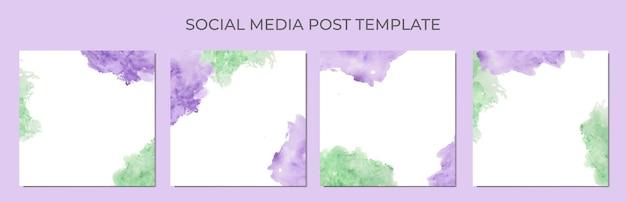 Acuarela abstracta como fondo de la plantilla de publicación de redes sociales