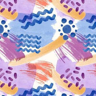 Acuarela abstracta de patrones sin fisuras con líneas y puntos