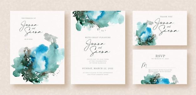 Acuarela abstracta de salpicaduras azules mixtas en invitación de boda
