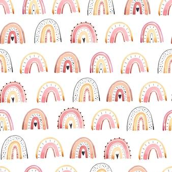 Acuarela de arco iris lindo de patrones sin fisuras, colores pastel