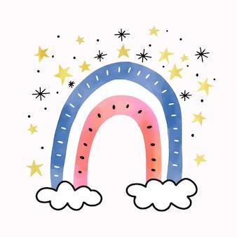Acuarela arcoiris en nubes con estrellas