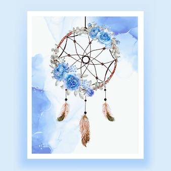 Acuarela atrapasueños flor azul pluma
