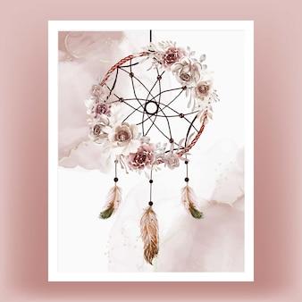 Acuarela atrapasueños flor marrón terracota pluma