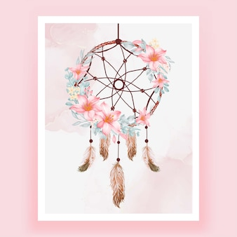 Acuarela atrapasueños flor rosa melocotón pluma