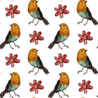 Acuarela de aves de patrones sin fisuras