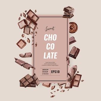 Acuarela de bebida frappe de chocolate, composición de plantilla, ilustración