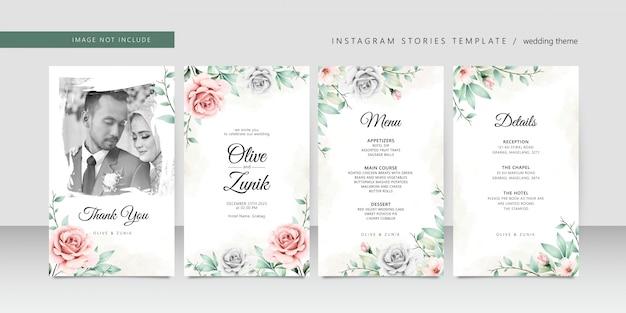 Acuarela de boda floral para plantilla de historias de instagram