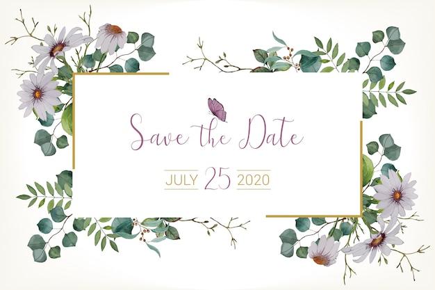 Acuarela boda guardar la tarjeta de fecha