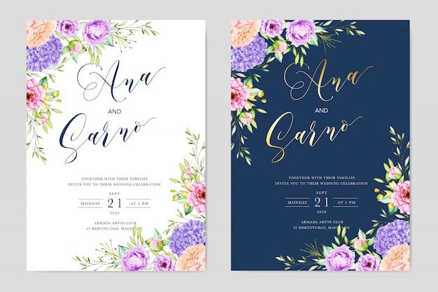 Acuarela boda plantilla de tarjeta de invitación floral. reserva. rsvp