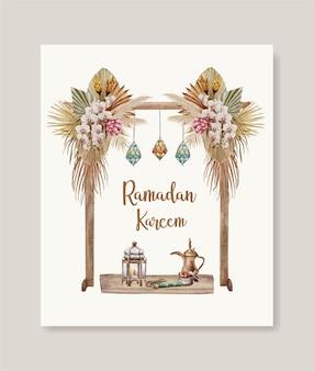 Acuarela boho ramadan kareem