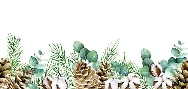 Acuarela borde transparente de hojas de eucalipto flores de algodón ramas de abeto y conos