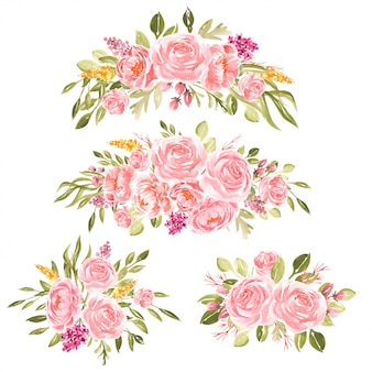 Acuarela bouquet de peonías melocotón
