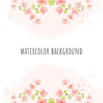 Acuarela buganvilla rosa sobre fondo de banner cuadrado rosa splash para tarjeta de invitación de boda o cumpleaños