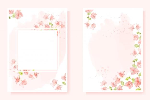 Acuarela buganvilla rosa sobre fondo rosa splash para la colección de plantillas de tarjetas de invitación de boda 5 x 7